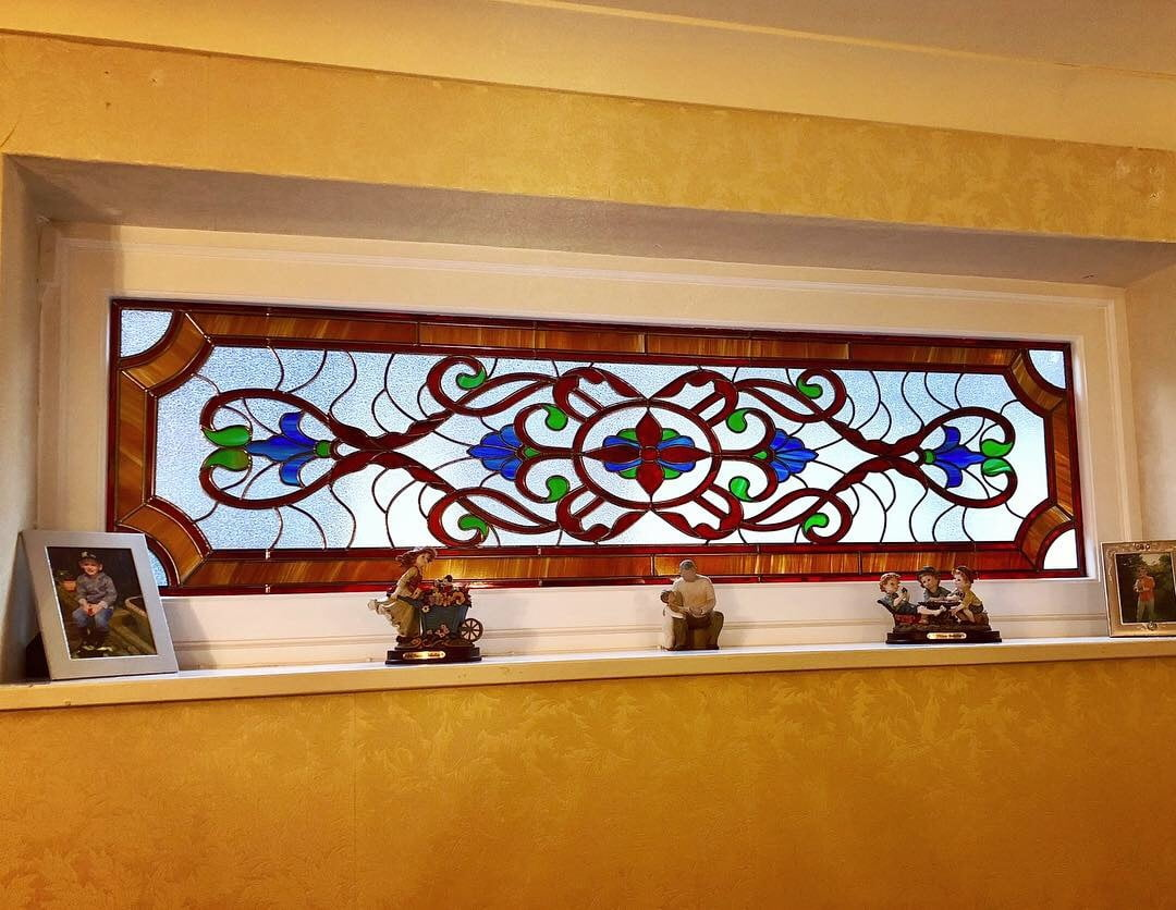 Sunflower design decorative glass for bathroom window