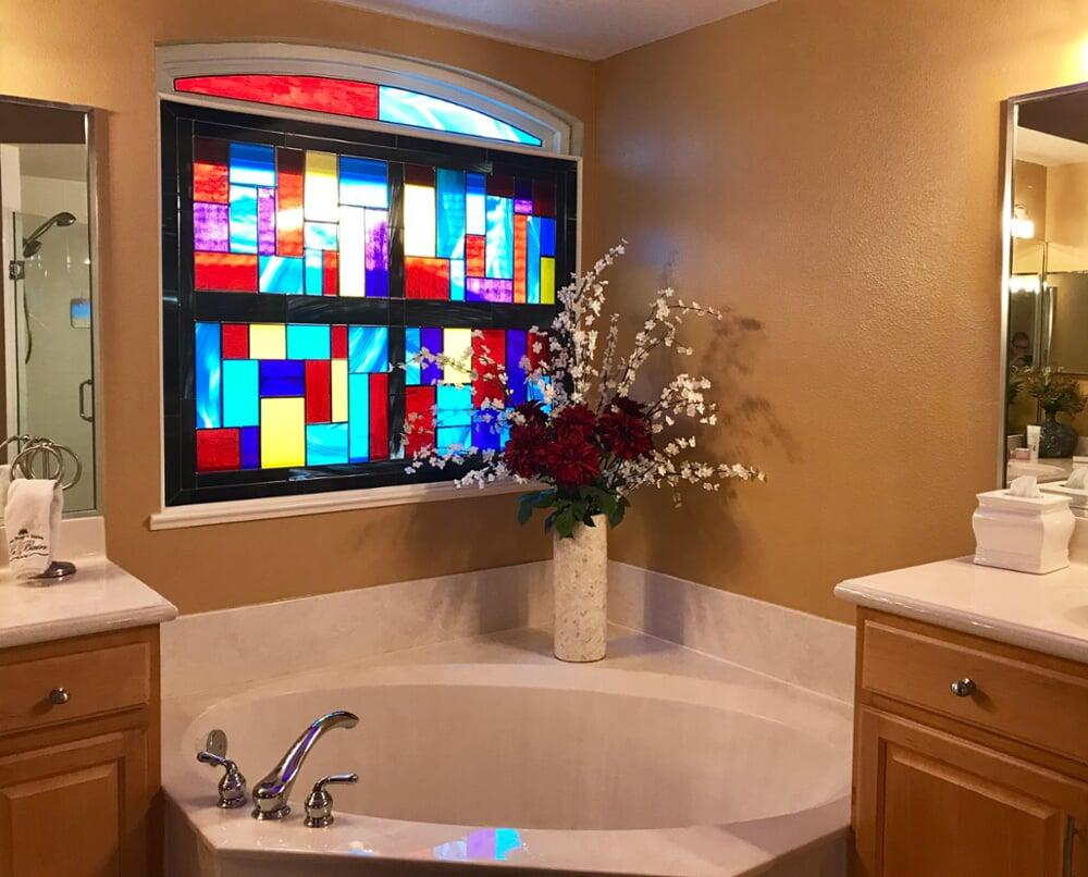 Contemporary stained glass bathroom window
