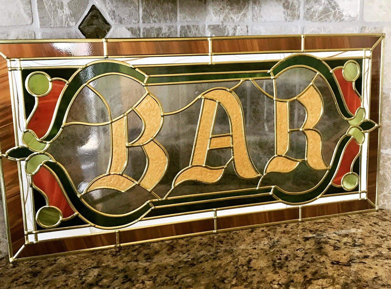 Barber Shop Design Stained Glass tile